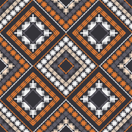 Ethnic boho seamless pattern. Embroidery on fabric. Patchwork texture. Weaving. Traditional ornament. Tribal pattern. Folk motif. Can be used for wallpaper, textile, invitation card, wrapping, web. Illustration