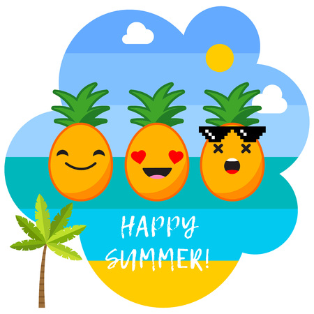 Poster with the sea, palm trees, clouds and cheerful pineapples in sunglasses. Typography. Hello Summer! Vector illustration. Can be used for wallpaper, textile, invitation card, wrapping, web.