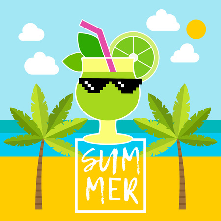 Poster with sea, palm trees, clouds and Mojito cocktail. Typography. Hello Summer! Vector illustration. Can be used for wallpaper, textile, invitation card, wrapping, web. Illustration