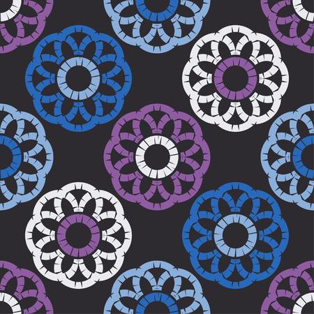 Modello senza cuciture a pois. Mosaico di figure etniche. Trama modellata. Sfondo geometrico. Può essere utilizzato per carta da parati, tessuti, biglietti d'invito, confezioni, sfondo della pagina web.