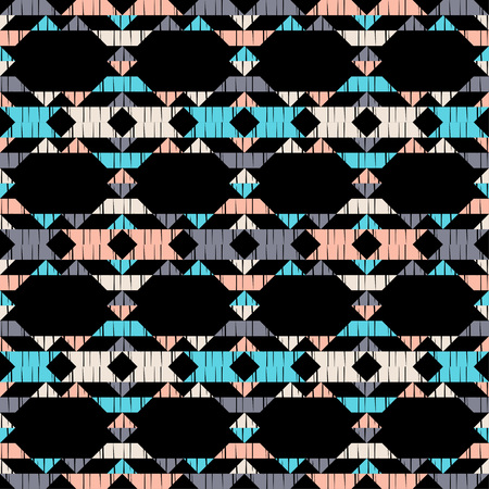 Ethnic boho seamless pattern. Lace. Embroidery on fabric. Patchwork texture. Weaving. Traditional ornament. Tribal pattern. Folk motif. Can be used for wallpaper, textile, wrapping, web. Vectores