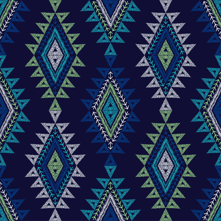 Ethnic boho seamless pattern. Lace. Embroidery on fabric. Patchwork texture. Weaving. Traditional ornament. Tribal pattern. Folk motif. Can be used for wallpaper, textile, wrapping, web.  イラスト・ベクター素材