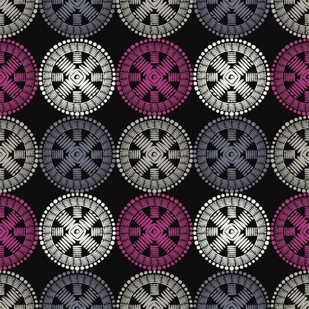 Polka dots seamless pattern. Mosaic of ethnic figures. Patterned texture. Geometric background. Can be used for wallpaper, textile, invitation card, wrapping, web page background. Ilustração