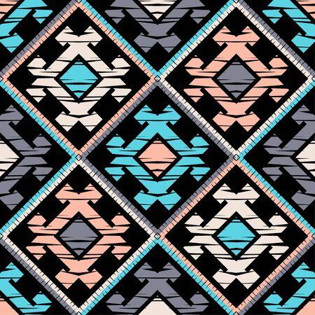 Etniczne boho wzór. Sznurówka. Haft na tkaninie. Tekstura patchworku. Tkactwo. Tradycyjna ozdoba. Plemienny wzór. Motyw ludowy. Może być stosowany do tapet, tekstyliów, opakowań, sieci.