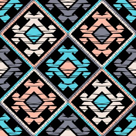 Modèle sans couture ethnique boho. Dentelle. Broderie sur tissu. Texture patchwork. Tissage. Ornement traditionnel. Motif tribal. Motif folklorique. Peut être utilisé pour le papier peint, le textile, l'emballage, le web.