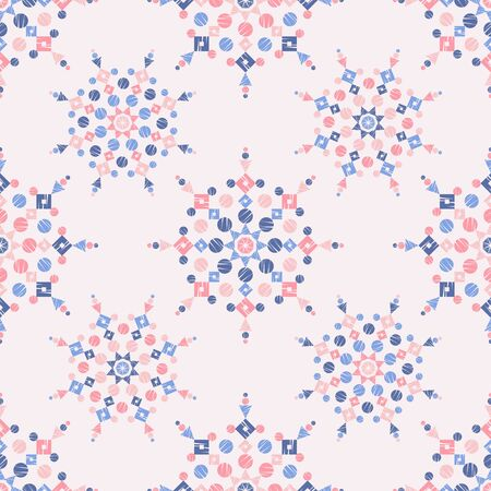 Christmas snowflakes. Ethnic boho seamless pattern. Lace. Embroidery on fabric. Patchwork texture. Weaving. Traditional ornament. Tribal pattern. Folk motif. Can be used for wallpaper, textile, wrapping, web.