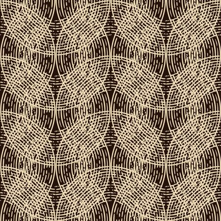 Engraving. Seamless pattern of hand drawn linear hatching. Mosaic of ethnic figures. Old paper. Vector illustration. Can be used for wallpaper, textile, invitation card, wrapping, web page background. Banque d'images - 139544360
