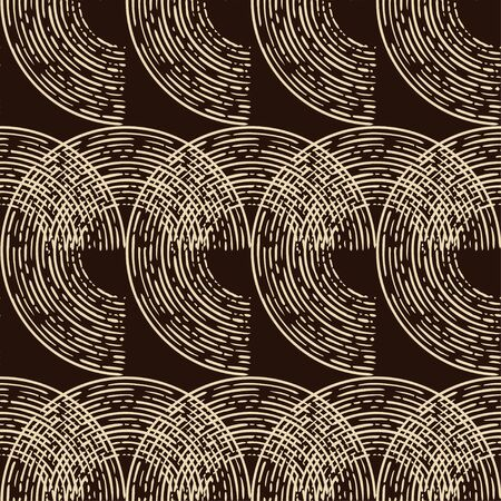 Engraving. Seamless pattern of hand drawn linear hatching. Mosaic of ethnic figures. Old paper. Vector illustration. Can be used for wallpaper, textile, invitation card, wrapping, web page background. Banque d'images - 139544362