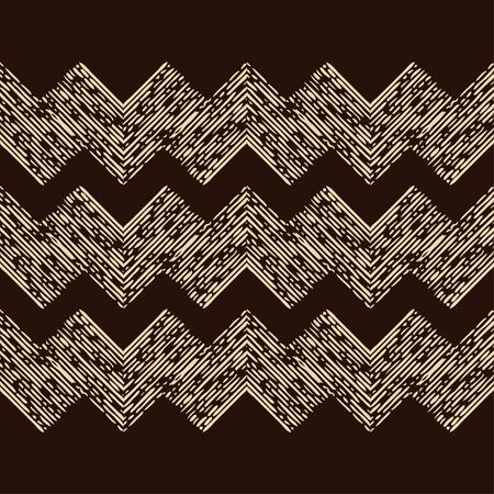 Engraving. Seamless pattern of hand drawn linear hatching. Mosaic of ethnic figures. Old paper. Vector illustration. Can be used for wallpaper, textile, invitation card, wrapping, web page background. Banque d'images - 139544388