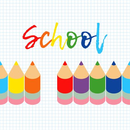Seamless background with colorful pencils. Vector illustration. Can be used for wallpaper, textile, invitation card, wrapping, web page background.