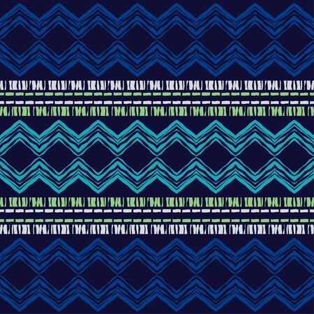 Etnisch boho naadloos patroon. Veter. Borduurwerk op stof. Lappendeken textuur. Weven. Traditionele sieraad. Tribal patroon. Volksmotief. Kan worden gebruikt voor behang, textiel, verpakking, web. Vector Illustratie