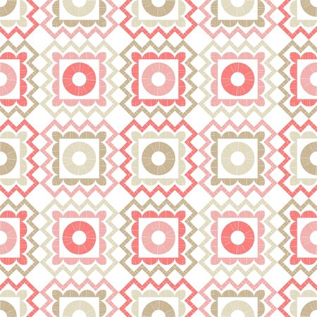 Polka dots seamless pattern. Mosaic of ethnic figures. Patterned texture. Geometric background. Can be used for wallpaper, textile, invitation card, wrapping, web page background.  イラスト・ベクター素材
