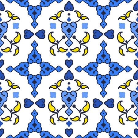 Traditional Islamic design. Vector ornamental seamless background. Geometric patterns in the oriental style. Can be used for wallpaper, textile, invitation card, wrapping, web page background. Illustration