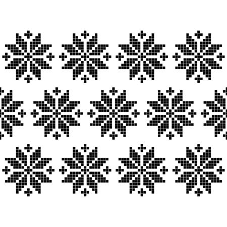 Seamless vector background with Norwegian snowflakes. Pixel snowflakes. Merry Christmas! Winter pattern. Can be used for wallpaper, textile, invitation card, wrapping, web page background.