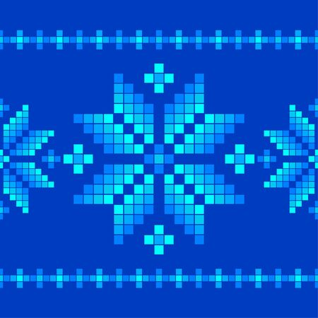 Seamless vector background with Norwegian snowflakes. Pixel snowflakes. Merry Christmas! Winter pattern. Can be used for wallpaper, textile, invitation card, wrapping, web page background. Фото со стока - 130348236