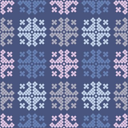 Seamless vector background with Norwegian snowflakes. Pixel snowflakes. Merry Christmas! Winter pattern. Can be used for wallpaper, textile, invitation card, wrapping, web page background. Фото со стока - 130348296