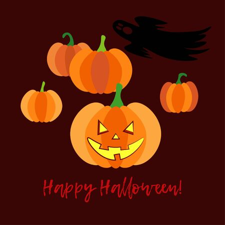 Happy Halloween Card! Pumpkins. Doodle and brushwork. Can be used for wallpaper, textile, invitation card, wrapping, web page background.