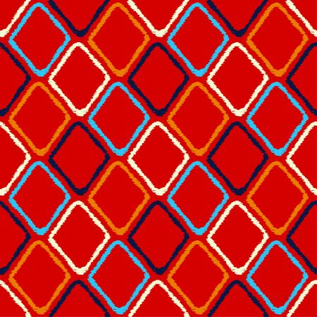 Ikat. Ethnic boho seamless pattern. Traditional ornament. Geometric background. Vector illustration for web design or print.