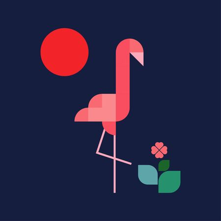 Flamingos of geometric shapes. Cute cartoon. Vector illustration for web design or print.