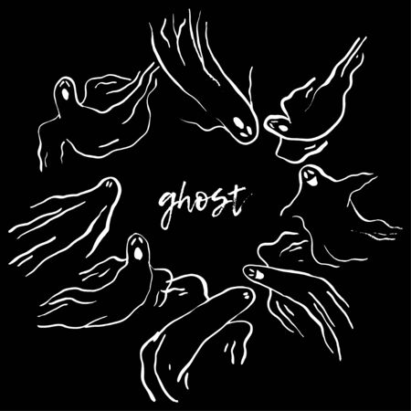 Ghosts. Black and white ink drawing for Halloween. Vector illustration for web design or print.