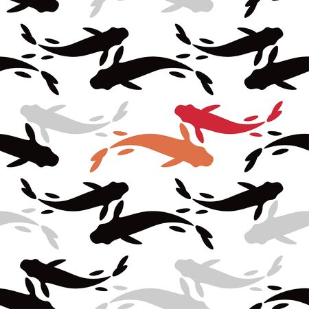 Seamless pattern with koi carp fish. Vector illustration for web design or print.