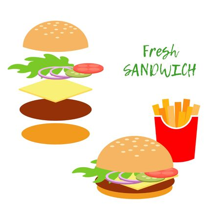 Sandwich and its ingredients. Vector illustration for web design or print. 向量圖像