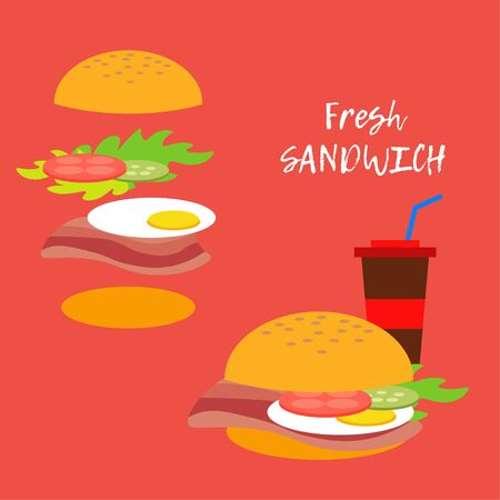 Sandwich and its ingredients. Vector illustration for web design or print. Ilustracje wektorowe