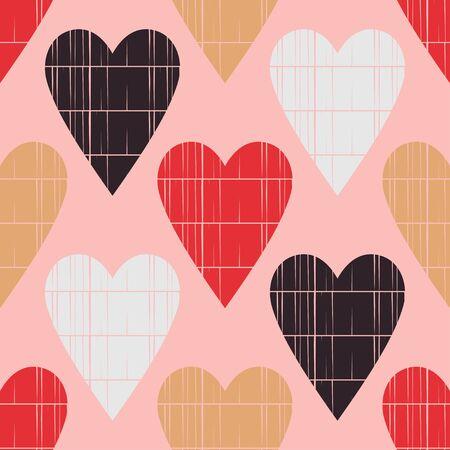 Seamless pattern with decorative hearts. Valentine's day. Illustration for web design or print. Ilustração