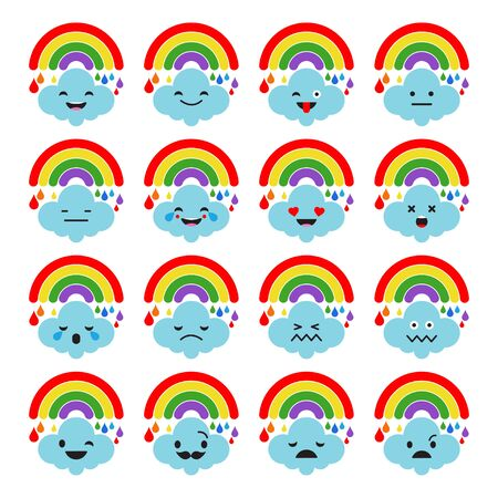 Rainbow Of Emotions. Cute cartoon. Vector style smile icons. Vector illustration for web design or print.