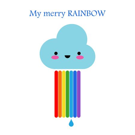 Rainbow and cloud. Kawaii. Childish cute graphic. Vector illustration for web design or print.