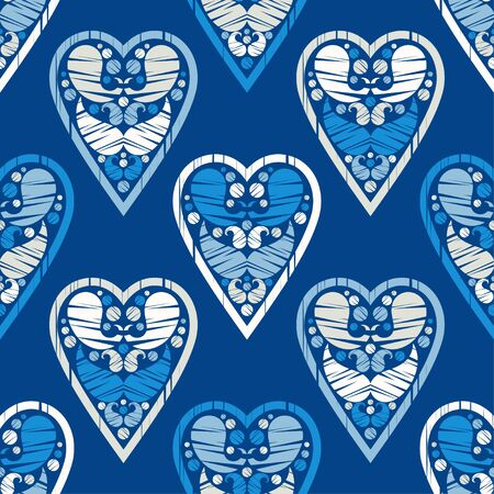 Ethnic boho ornament. Seamless pattern with decorative hearts. Valentine's day. Illustration for web design or print. Ilustração