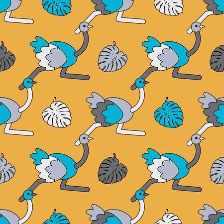 Ostrich bird. Cute cartoon. Vector illustration for web design or print. Ilustracja