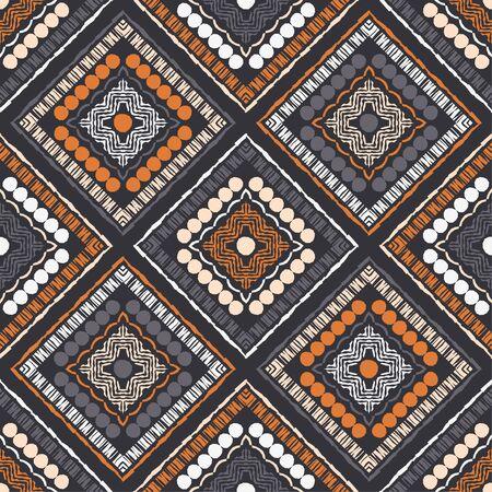 Ethnic boho ornament. Seamless pattern. Tribal motif. Vector illustration for web design or print. Vetores