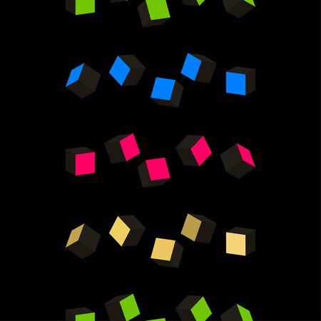 Black cubes. 3D-modeling. Minimalism. Isolated on black background. Vector illustration for web design or print. 向量圖像