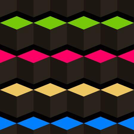 Black cubes. 3D-modeling. Minimalism. Isolated on black background. Vector illustration for web design or print.