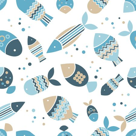 Seamless pattern with fishes in the sea. Cute cartoon. Vector illustration for web design or print.