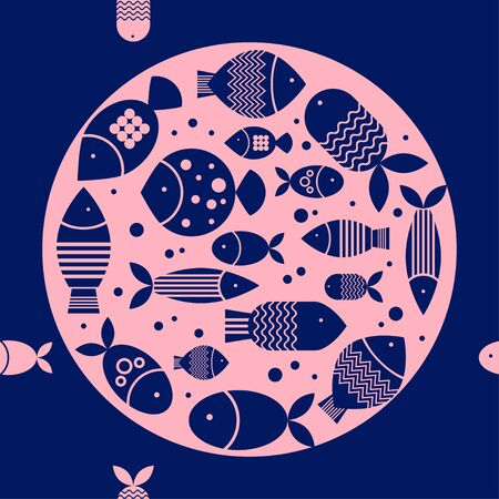Seamless pattern with fishes in the sea. Cute cartoon. Vector illustration for web design or print. Vetores