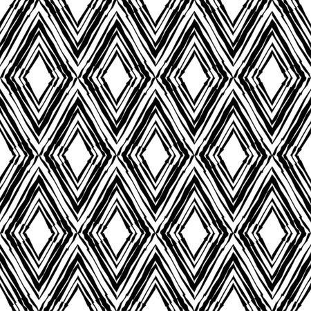 Black-and-white figures with curved stripes. Ethnic boho ornament. Seamless background. Tribal motif. Vector illustration for web design or print.