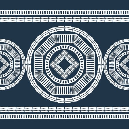 Design with manual hatching. Ethnic boho ornament. Seamless background. Tribal motif. Vector illustration for web design or print.