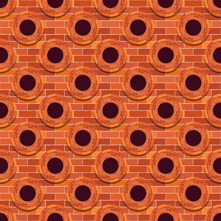 Mosaic of bricks and windows. Red. Seamless background. Means for the device of masonry walls and floors. Vector illustration for web design or print.