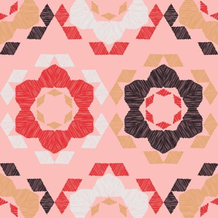 Flowers and Hexagons. Design with manual hatching. Ethnic boho ornament. Seamless background. Tribal motif. Vector illustration for web design or print. Illustration