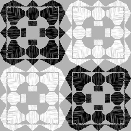 Aztec elements. Design with manual hatching. Ethnic boho ornament. Seamless background. Tribal motif. Vector illustration for web design or print.