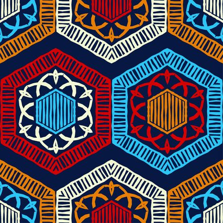 Snowflakes and Hexagons. Design with manual hatching. Ethnic boho ornament. Seamless background. Tribal motif. Vector illustration for web design or print.