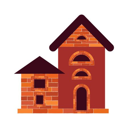 An old brick house with windows and a door on the foundation is isolated on a white background. Red and brown. Vector illustration for web design or print.