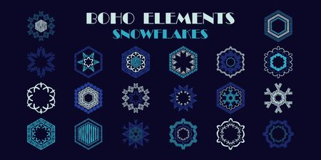 A set of BOHO elements. Snowflakes. Geometry. Design with manual hatching. Ethnic ornament. Vector illustration for web design or print.