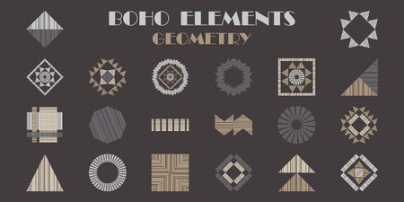 A set of BOHO elements. Geometry. Design with manual hatching. Ethnic boho ornament. Tribal motif. Vector illustration for web design or print.