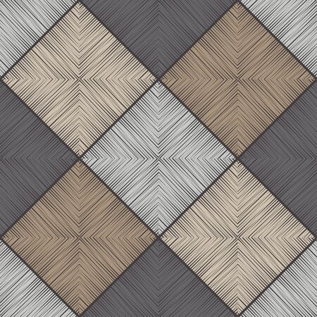 Brown floor with wooden texture. Geometry. Seamless pattern. Vector illustration for web design or print. Vector Illustration