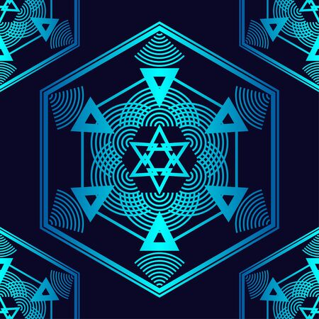 Sacred geometry.Trendy seamless pattern designs. Hexagons with vibrant gradients. Vector illustration for web design or print.