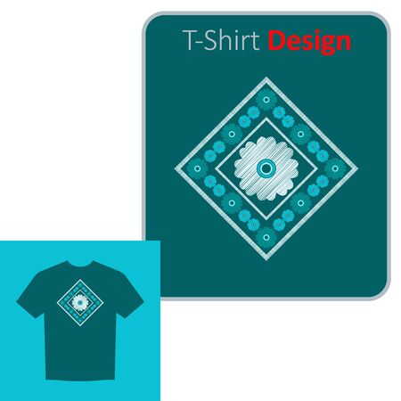 Decorative flowers. Ethnic boho ornament. Positive pattern on the t-shirt. Vector illustration for web design or print.
