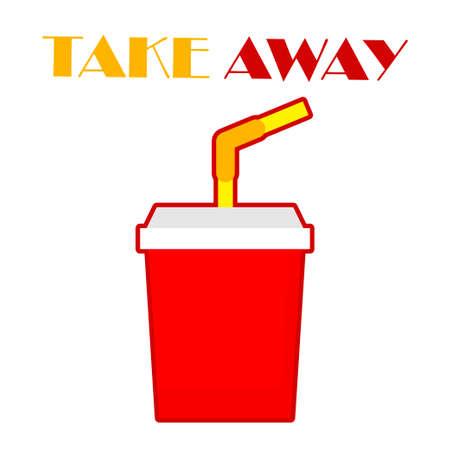 Take Away. Food delivery. Vector illustration for web design or print.